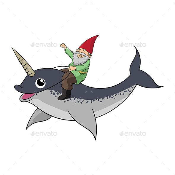 A Gnome Riding a Narwhal