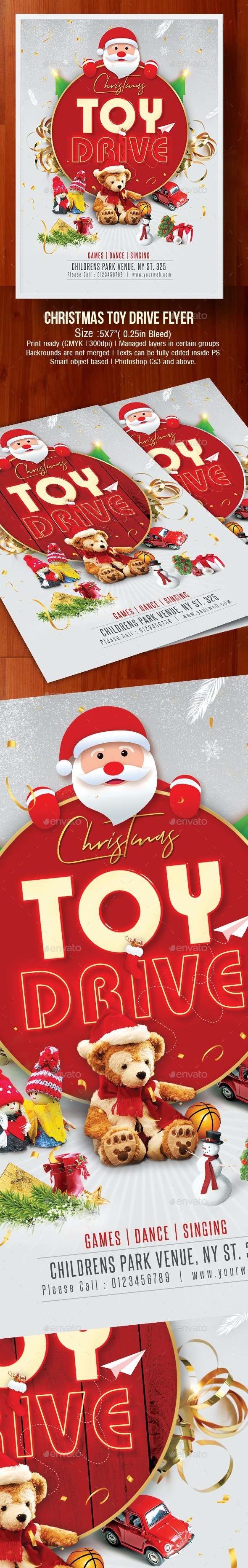 Christmas Toy Drive Flyer - Clubs & Parties Events