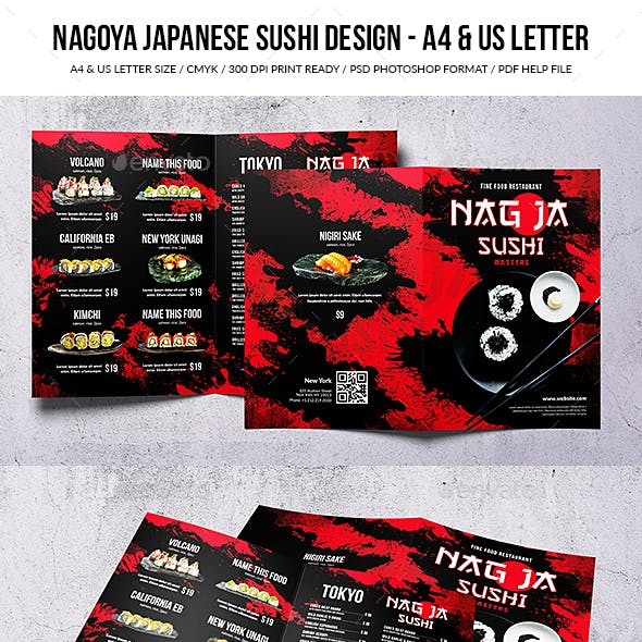 Nagoya Japanese Sushi Food Menu Design - A4 & US Letter
