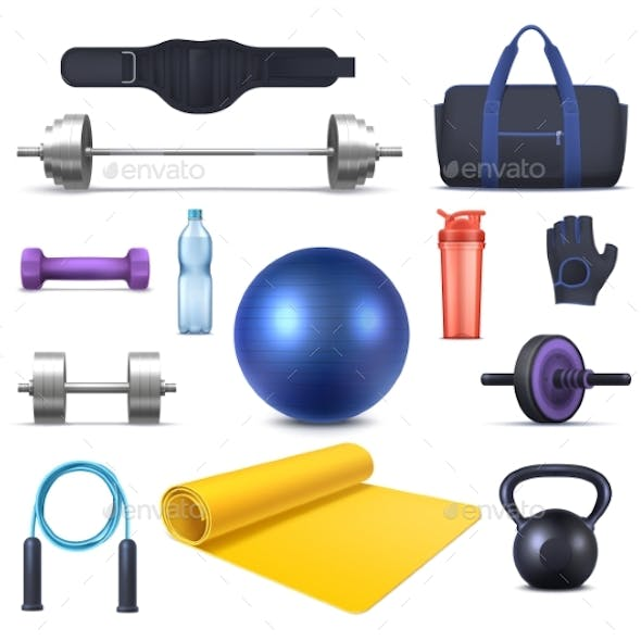 Fitness Club Equipment and Gym Garments Icons