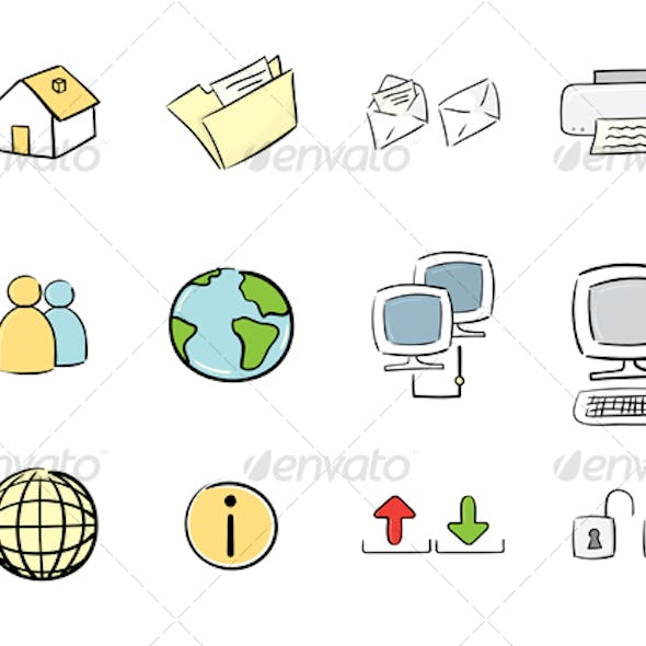 Hand-Drawn Icon Set: Computer & Web