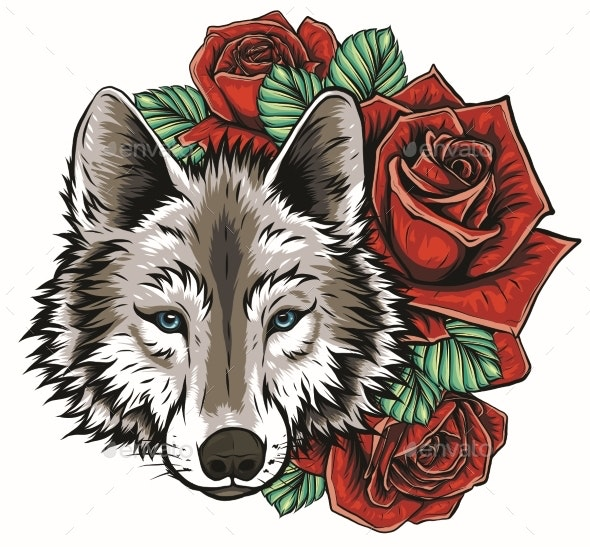 Embroidery of Wolf and Roses.  - Miscellaneous Vectors