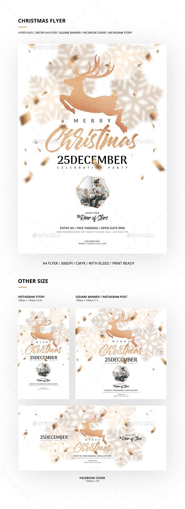 Christmas Party Flyer & Social Media Banner Set - Holidays Events