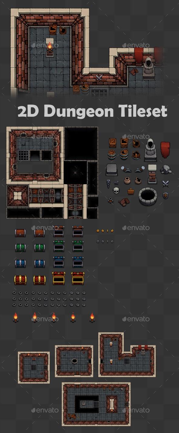 2D Dungeon Tileset - Tilesets Game Assets