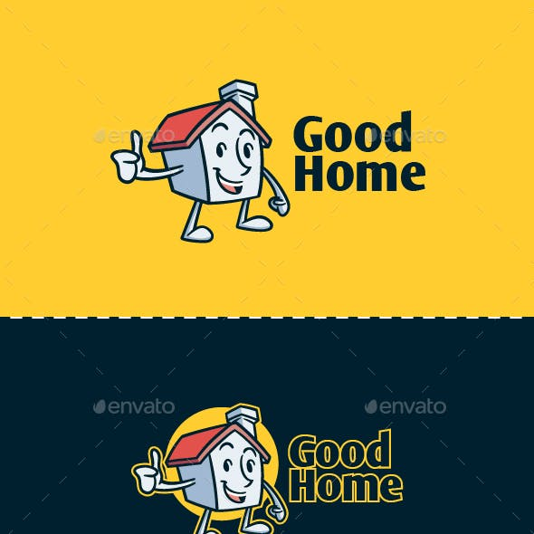 Cartoon Retro Vintage House Mascot Character Logo