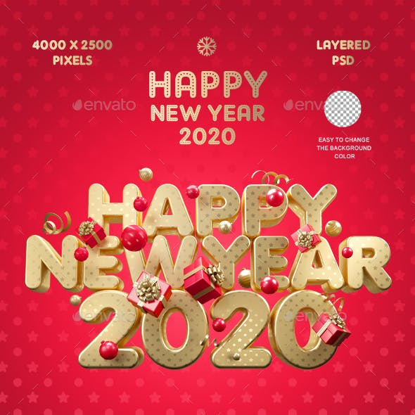 Happy New Year 2020 Gold