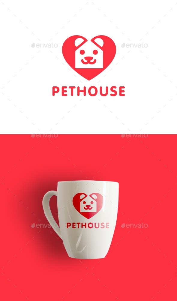 Modern Negative Space of Heart, Dog and House Logo - Animals Logo Templates