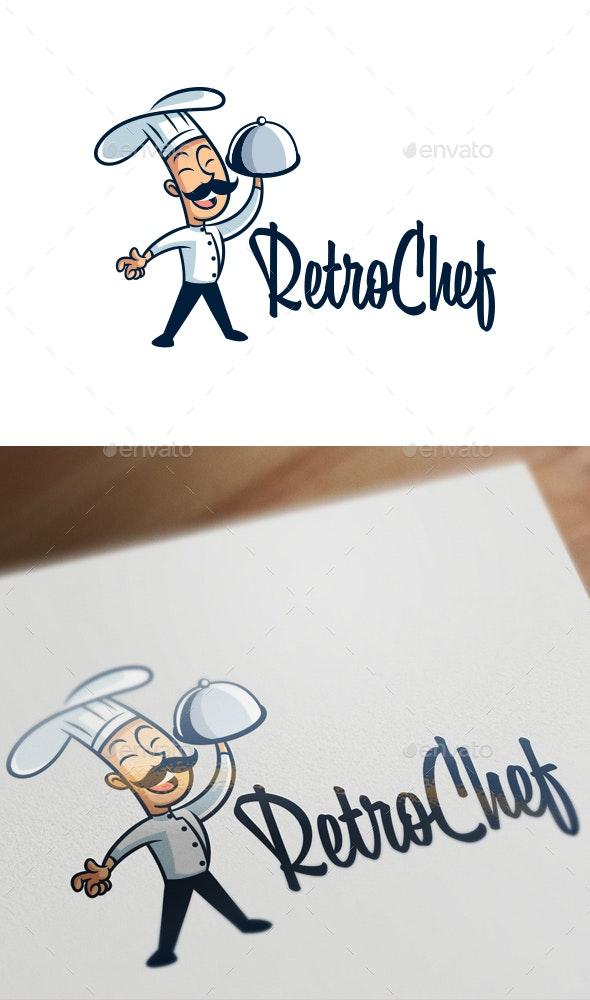 Cartoon Retro Vintage 50's Chef Mascot Logo - Humans Logo Templates