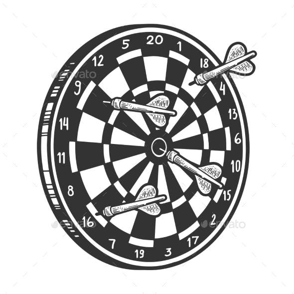 Darts in Dartboard Sketch Engraving Vector