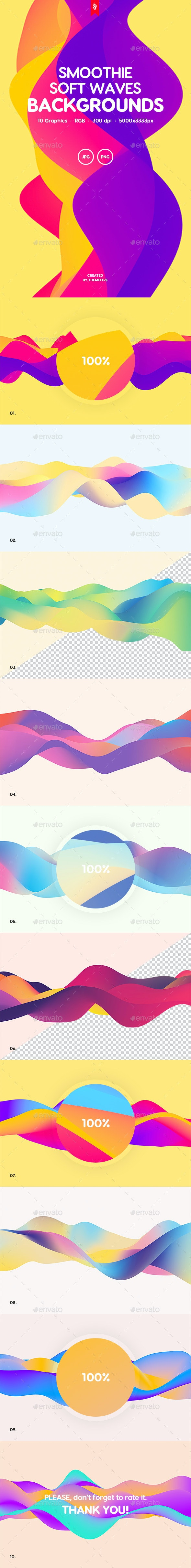 Smoothie - Soft Colorful Waves Background Set - Abstract Backgrounds
