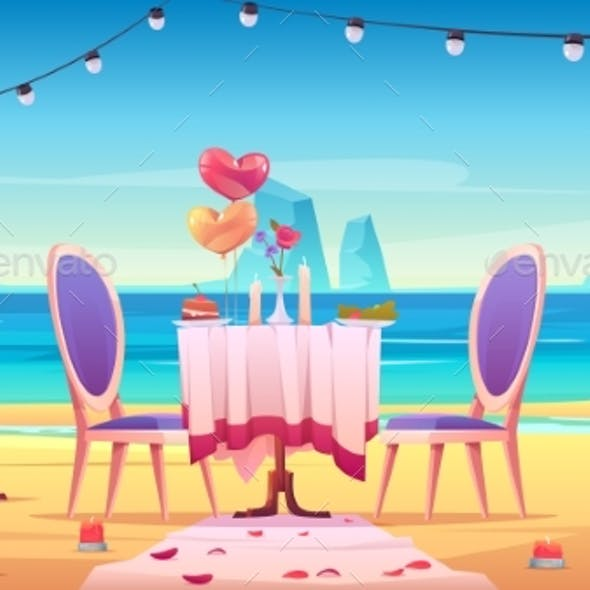 Table at Sea Beach Served for Romantic Dating