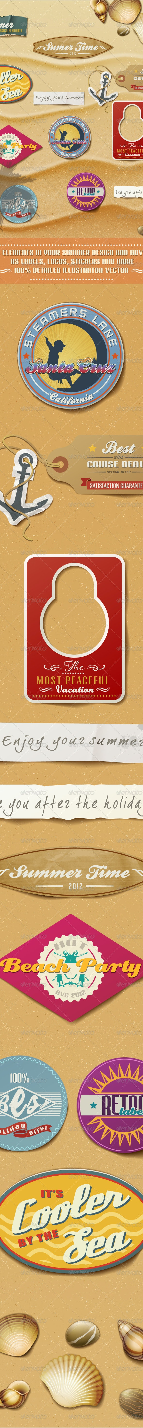 Summer Design Elements On Sand Background. - Seasons/Holidays Conceptual
