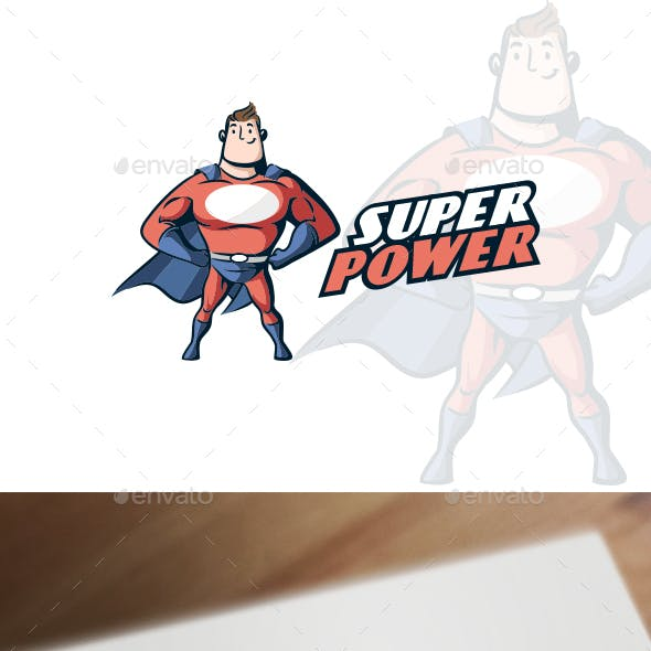 Cartoon Retro Vintage Muscular Superhero Mascot Logo