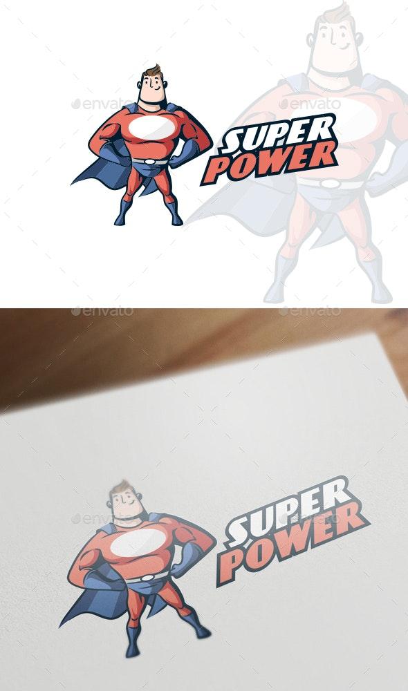 Cartoon Retro Vintage Muscular Superhero Mascot Logo - Humans Logo Templates