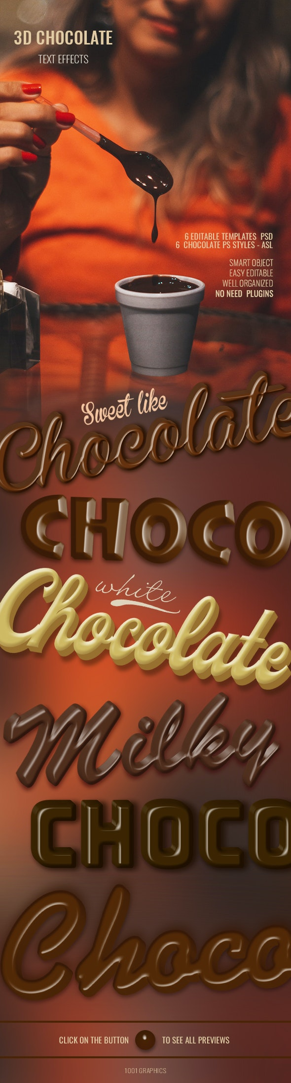 6 Realistic Chocolate - 3D Text Effects PSD Templates - Text Effects Actions