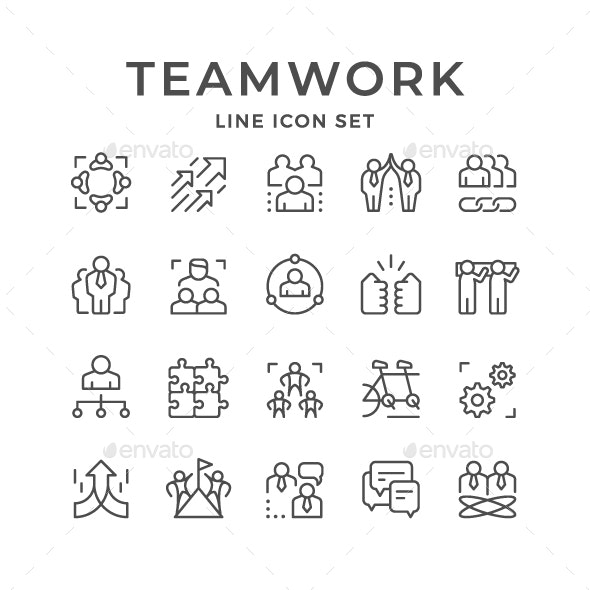 Set Line Icons of Teamwork - Business Icons