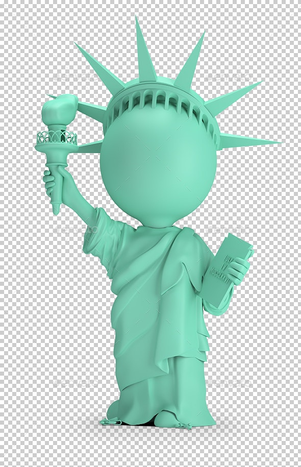 3D Small People - Statue of Liberty - Characters 3D Renders