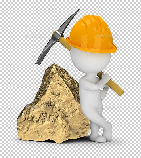 3D Small People - Miner Next to a Big Gold Nugget - Characters 3D Renders