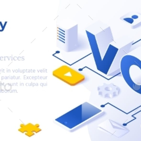 VOIP IP Telephony Services - Isometric Vector