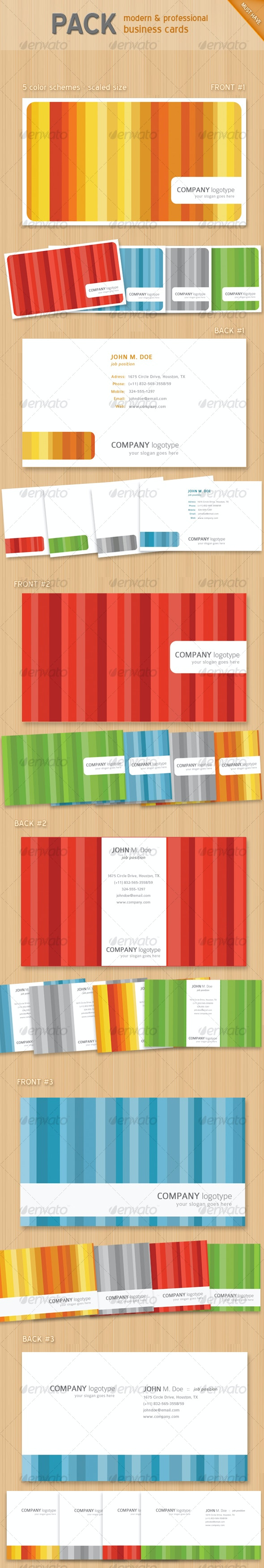 Colorful business card set x15 - Creative Business Cards