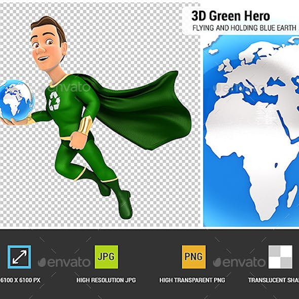 3D Green Hero Flying and Holding Blue Earth
