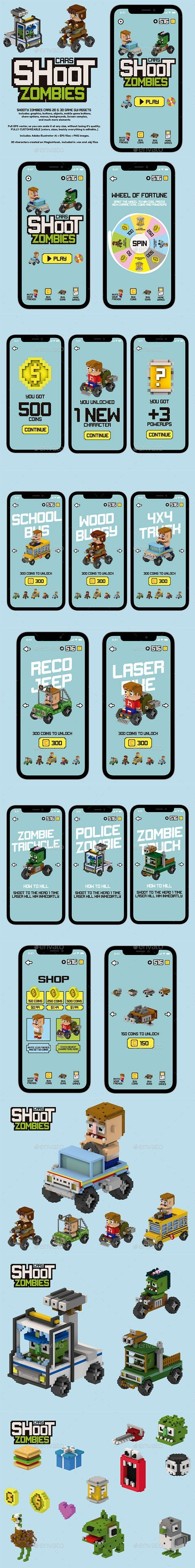 Shoot Zombies Cars 2D and 3D Game Assets - Game Kits Game Assets