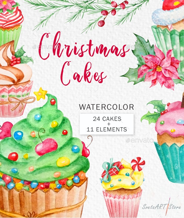 Christmas Cake. Watercolor Clipart - Illustrations Graphics