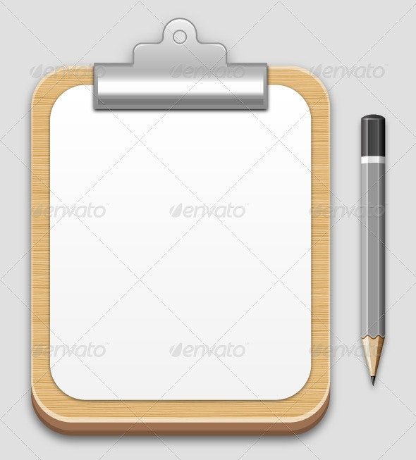 Clipboard and Pancil - Objects Vectors