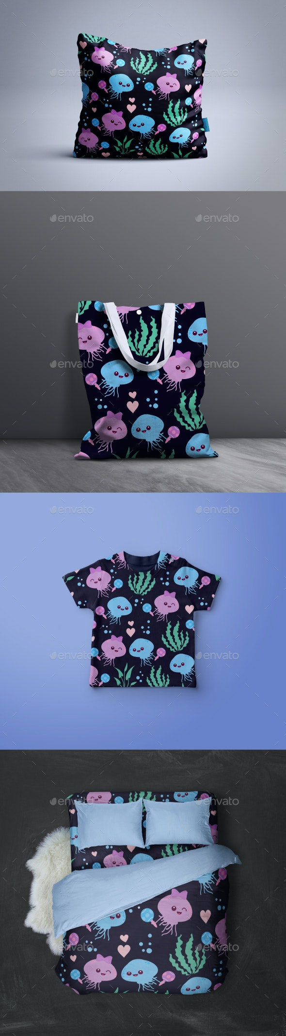 Seamless Octopus Fall in Love Pattern - Patterns Decorative