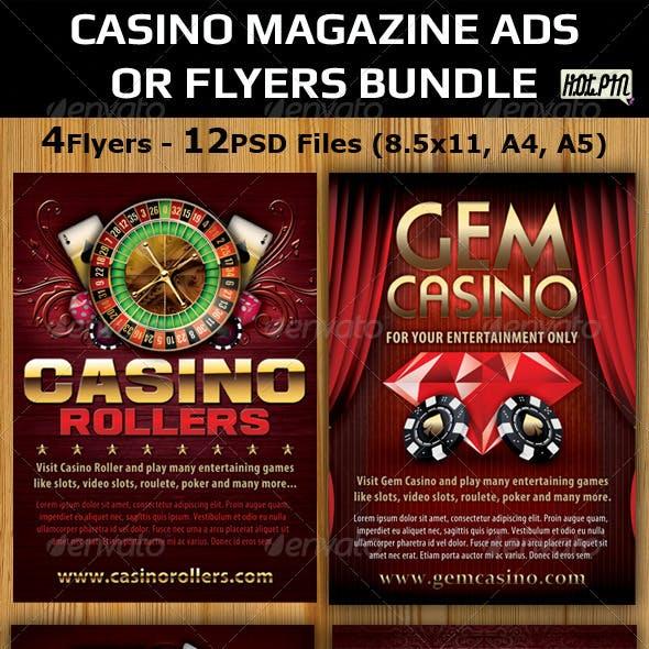 Casino Magazine Ads-Flyers Template Bundle