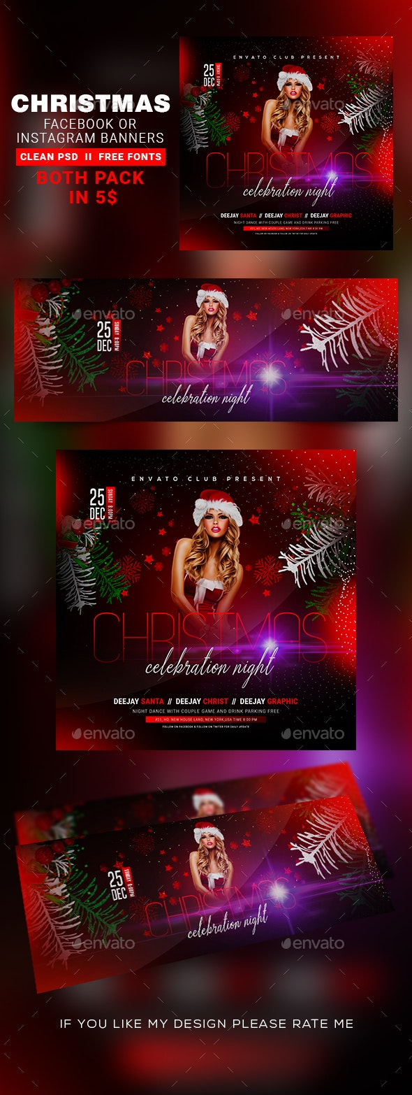 Christmas Instagram Banner & Facebook Cover - Banners & Ads Web Elements
