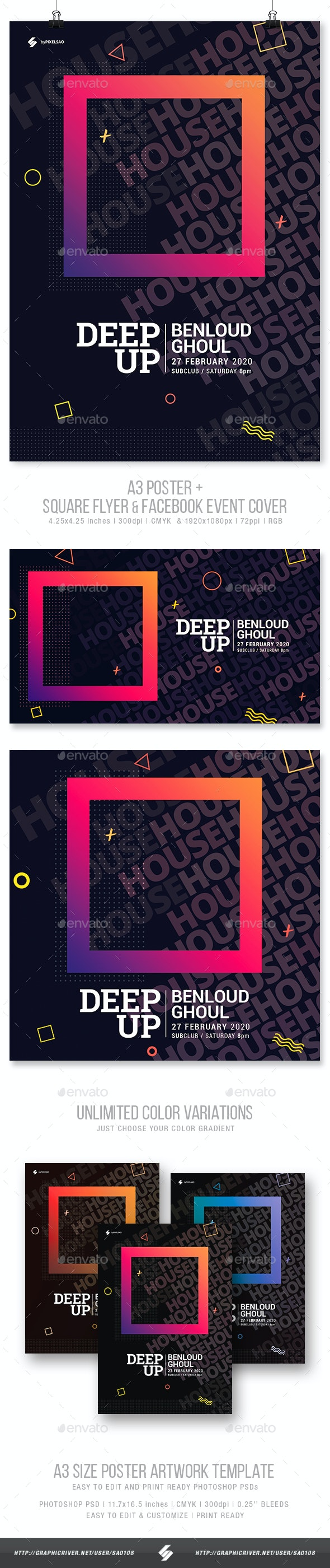 Deep Up - Club Party Flyer / Poster Artwork Template A3 - Clubs & Parties Events