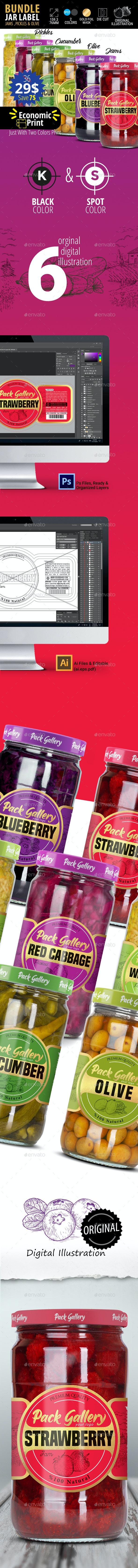 Jar Label Design Bundle (Jams, Pickles & Olive) - Packaging Print Templates