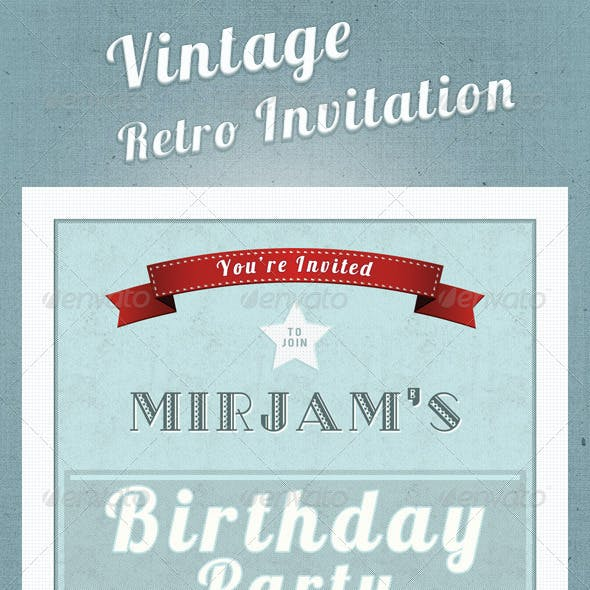 Vintage Retro Invitation Postcard