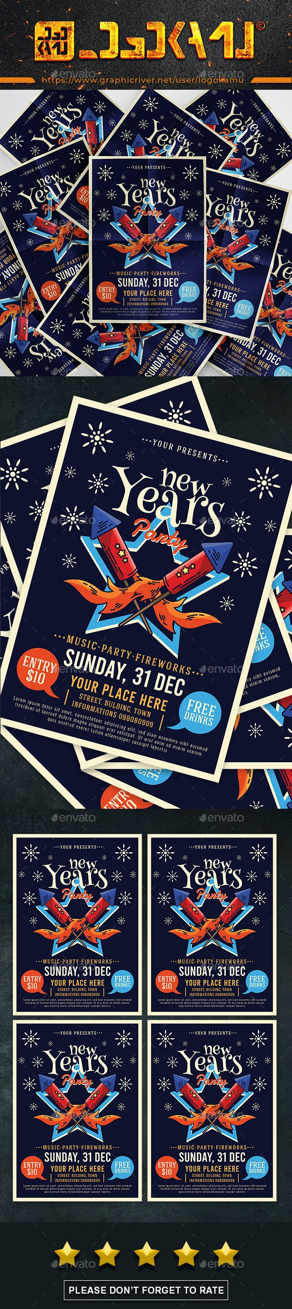 New Years Party Flyers - Events Flyers