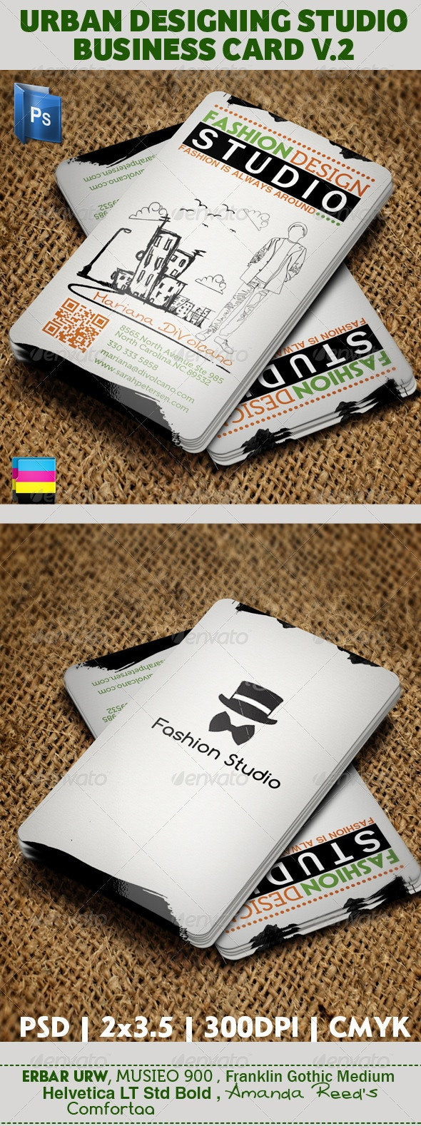 Urban Fashion Studio Business Card V2 - Business Cards Print Templates