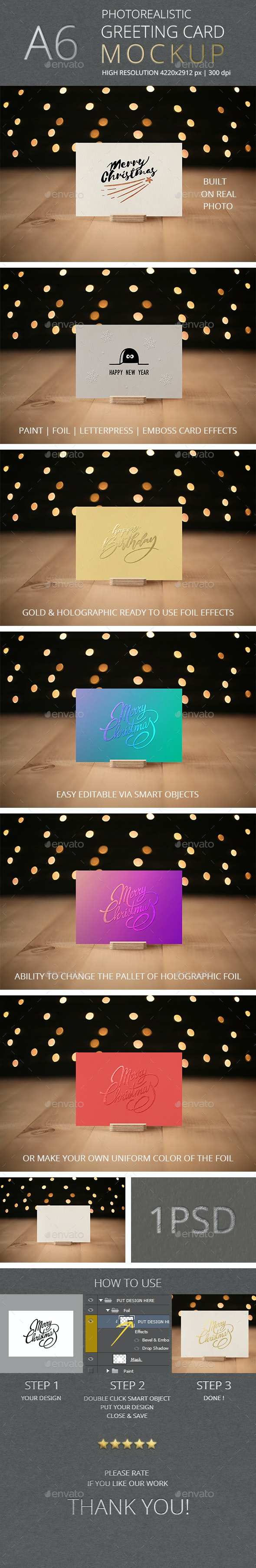 Photorealistic Invitation & Greeting Card Mockup Vol 6.0 / A6 Edition - Miscellaneous Print