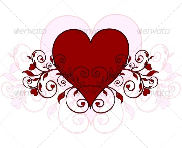red heart with ornament - Seasons/Holidays Conceptual