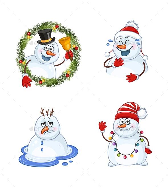 Snowman Christmas Illustrations Set - Christmas Seasons/Holidays
