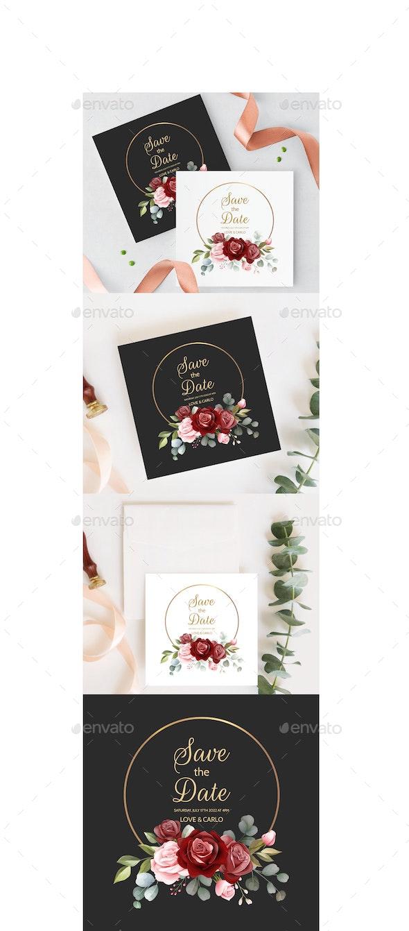 Wedding Floral Gold Frame - Weddings Seasons/Holidays