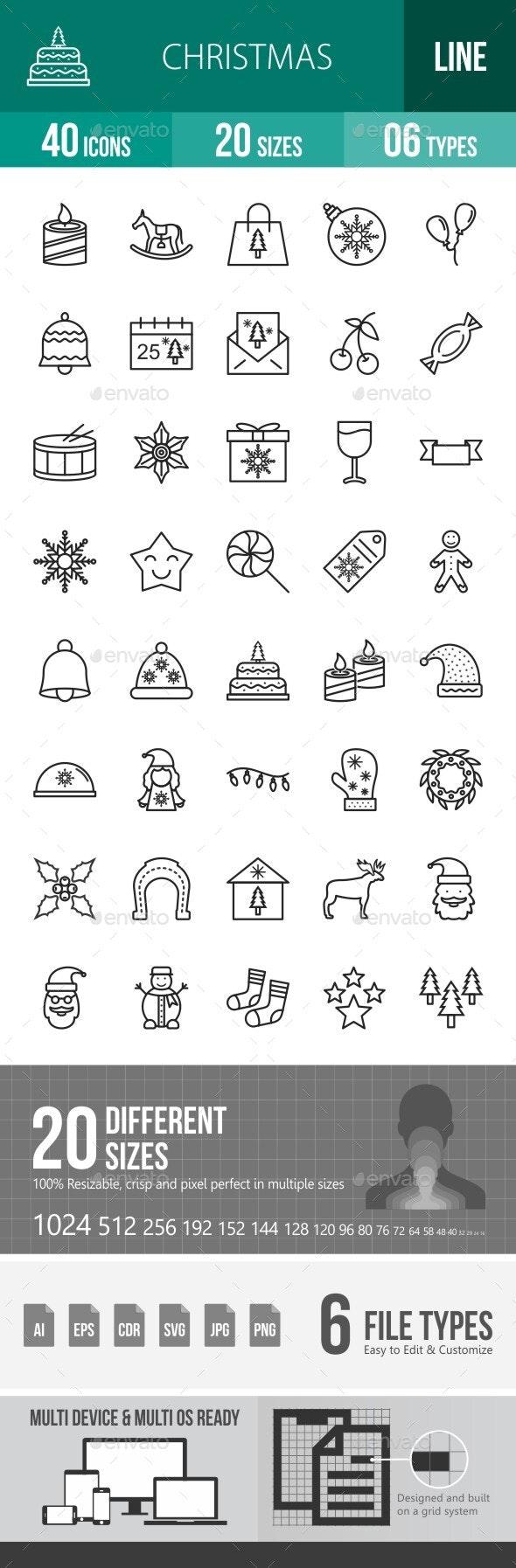 40 Christmas Line Icons - Icons