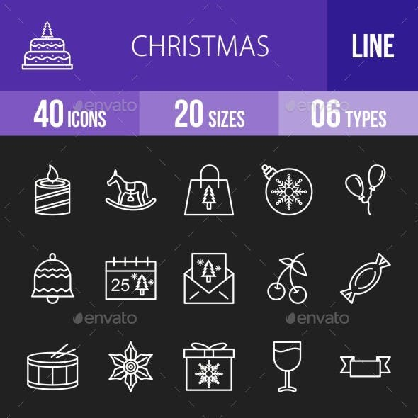 40 Christmas Line Inverted Icons