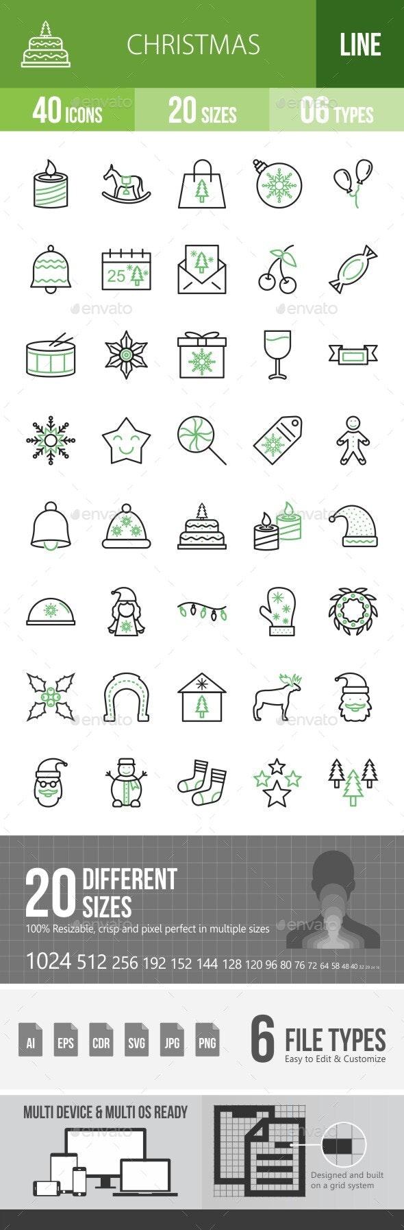 40 Christmas Line Green & Black Icons - Icons