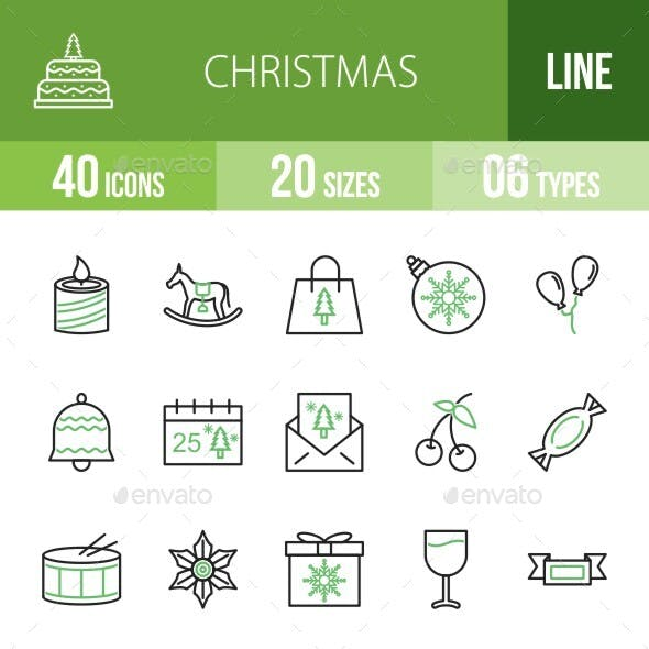 40 Christmas Line Green & Black Icons