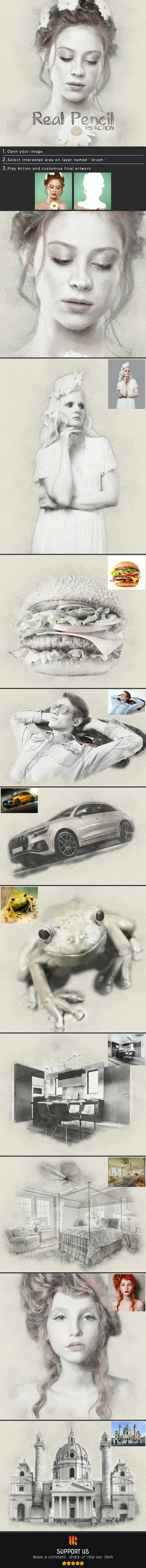 Real Pencil Photoshop Action - Photo Effects Actions