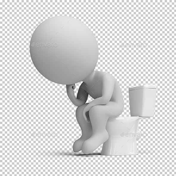 3D Small People - Thinker on the Toilet - Characters 3D Renders