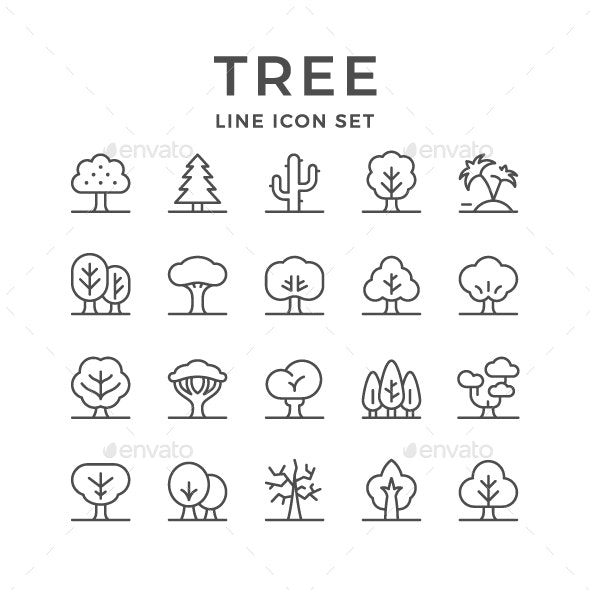 Set Line Icons of Tree - Abstract Icons