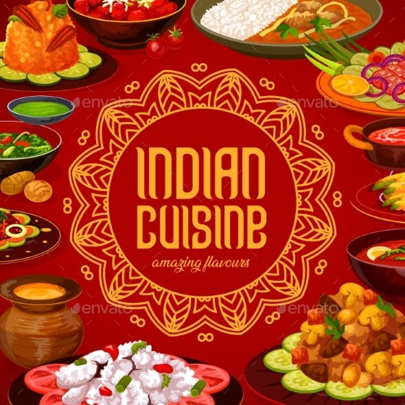 Indian Cuisine Menu Cover, India Restaurant Dishes