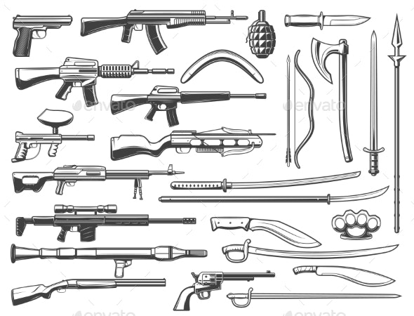 Military Ammunition Fight Weapon and Guns - Man-made Objects Objects