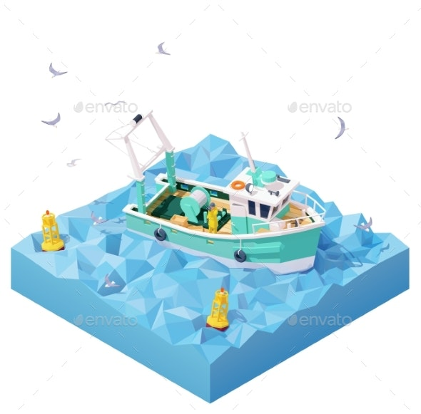 Vector Isometric Fishing Boat in the Sea - Man-made Objects Objects